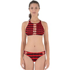 Red Devil And Black Halloween Nightmare Stripes  Perfectly Cut Out Bikini Set by PodArtist