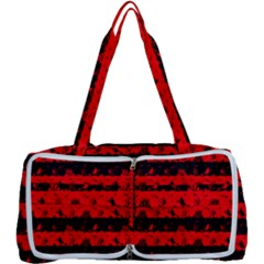 Red Devil And Black Halloween Nightmare Stripes  Multi Function Bag