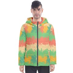 Spots In Retro Colors                                             Men s Hooded Puffer Jacket