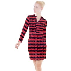 Donated Kidney Pink And Black Halloween Nightmare Stripes  Button Long Sleeve Dress