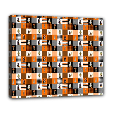 Witches, Monsters And Ghosts Halloween Orange And Black Patchwork Quilt Squares Deluxe Canvas 24  X 20  (stretched) by PodArtist