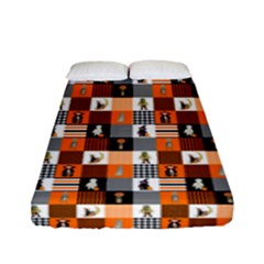 Witches, Monsters And Ghosts Halloween Orange And Black Patchwork Quilt Squares Fitted Sheet (full/ Double Size) by PodArtist