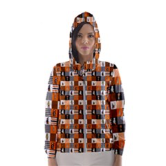Witches, Monsters And Ghosts Halloween Orange And Black Patchwork Quilt Squares Hooded Windbreaker (women) by PodArtist