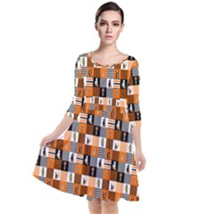 Witches, Monsters And Ghosts Halloween Orange And Black Patchwork Quilt Squares Quarter Sleeve Waist Band Dress by PodArtist