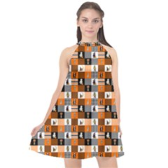 Witches, Monsters And Ghosts Halloween Orange And Black Patchwork Quilt Squares Halter Neckline Chiffon Dress  by PodArtist