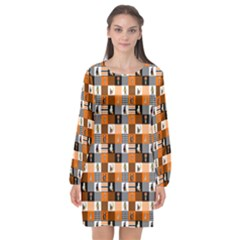Witches, Monsters And Ghosts Halloween Orange And Black Patchwork Quilt Squares Long Sleeve Chiffon Shift Dress  by PodArtist