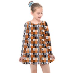 Witches, Monsters And Ghosts Halloween Orange And Black Patchwork Quilt Squares Kids  Long Sleeve Dress
