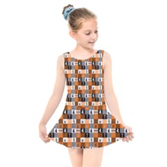 Witches, Monsters And Ghosts Halloween Orange And Black Patchwork Quilt Squares Kids  Skater Dress Swimsuit