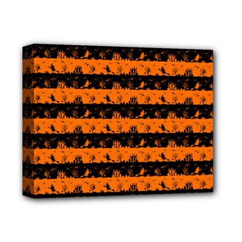 Dark Pumpkin Orange And Black Halloween Nightmare Stripes  Deluxe Canvas 14  X 11  (stretched) by PodArtist