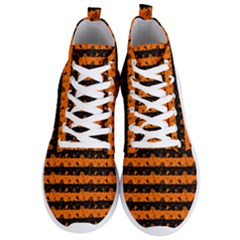 Dark Pumpkin Orange And Black Halloween Nightmare Stripes  Men s Lightweight High Top Sneakers by PodArtist