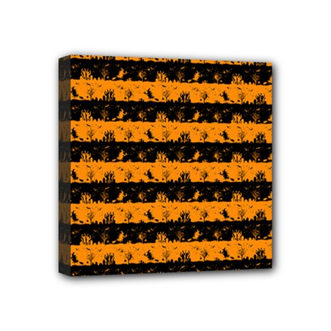 Pale Pumpkin Orange And Black Halloween Nightmare Stripes  Mini Canvas 4  X 4  (stretched) by PodArtist
