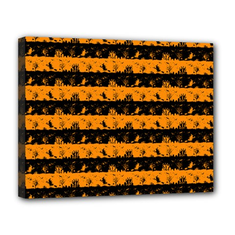 Pale Pumpkin Orange And Black Halloween Nightmare Stripes  Canvas 14  X 11  (stretched) by PodArtist