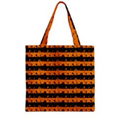 Pale Pumpkin Orange And Black Halloween Nightmare Stripes  Grocery Tote Bag by PodArtist