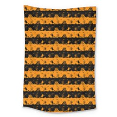 Pale Pumpkin Orange And Black Halloween Nightmare Stripes  Large Tapestry by PodArtist