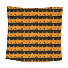 Pale Pumpkin Orange And Black Halloween Nightmare Stripes  Square Tapestry (large) by PodArtist
