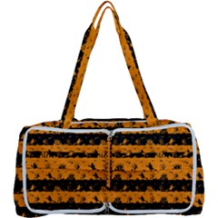 Pale Pumpkin Orange And Black Halloween Nightmare Stripes  Multi Function Bag	 by PodArtist