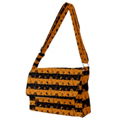 Pale Pumpkin Orange And Black Halloween Nightmare Stripes  Full Print Messenger Bag by PodArtist