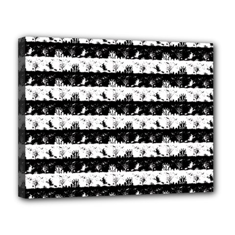 Black And White Halloween Nightmare Stripes Canvas 14  X 11  (stretched) by PodArtist