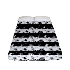 Black And White Halloween Nightmare Stripes Fitted Sheet (full/ Double Size) by PodArtist