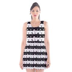 Black And White Halloween Nightmare Stripes Scoop Neck Skater Dress