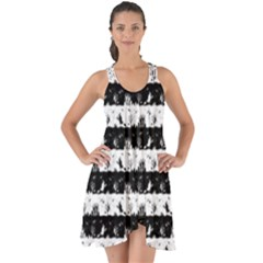 Black And White Halloween Nightmare Stripes Show Some Back Chiffon Dress by PodArtist