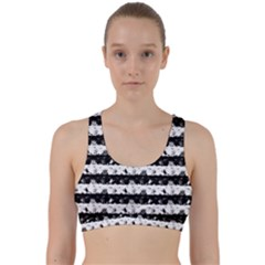 Black And White Halloween Nightmare Stripes Back Weave Sports Bra