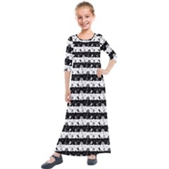 Black And White Halloween Nightmare Stripes Kids  Quarter Sleeve Maxi Dress