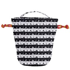 Black And White Halloween Nightmare Stripes Drawstring Bucket Bag