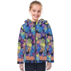 Paint Brushes On A Black Background                                             Kids  Hooded Puffer Jacket