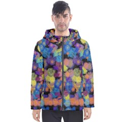 Paint Brushes On A Black Background                                              Men s Hooded Puffer Jacket