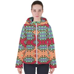 Misc Tribal Shapes                                              Women s Hooded Puffer Jacket