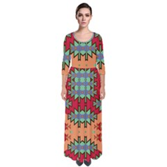 Misc Tribal Shapes                                                 Quarter Sleeve Maxi Dress by LalyLauraFLM
