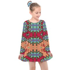 Misc Tribal Shapes                                              Kids  Long Sleeve Dress by LalyLauraFLM
