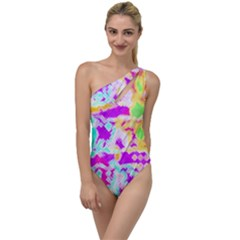 Pink Yellow Blue Green Texture                                                To One Side Swimsuit