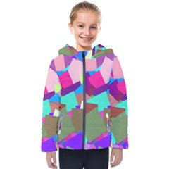 Colorful Squares                                                 Kids  Hooded Puffer Jacket