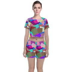 Colorful Squares                                            Crop Top And Shorts Co-ord Set by LalyLauraFLM