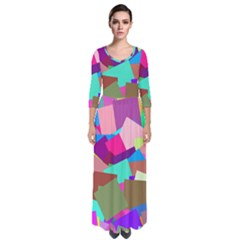 Colorful Squares                                                    Quarter Sleeve Maxi Dress by LalyLauraFLM