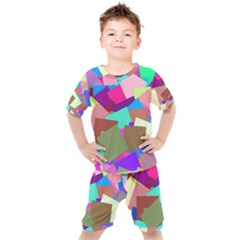 Colorful Squares                                               Kids  Tee And Shorts Set