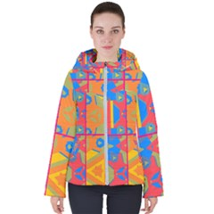 Colorful Shapes In Tiles                                                  Women s Hooded Puffer Jacket