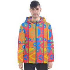 Colorful Shapes In Tiles                                                   Men s Hooded Puffer Jacket by LalyLauraFLM