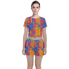 Colorful Shapes In Tiles                                             Crop Top And Shorts Co-ord Set by LalyLauraFLM