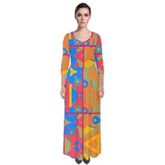 Colorful Shapes In Tiles                                                     Quarter Sleeve Maxi Dress by LalyLauraFLM