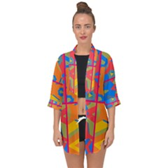 Colorful Shapes In Tiles                                                  Open Front Chiffon Kimono
