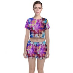 Blue Pink Watercolors                                              Crop Top And Shorts Co Ord Set