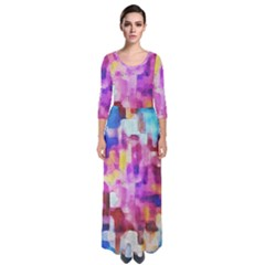 Blue Pink Watercolors                                                      Quarter Sleeve Maxi Dress by LalyLauraFLM
