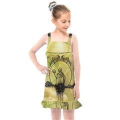 Awesome Creepy Skeleton With Skull Kids  Overall Dress