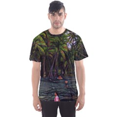 Hawaiian Beach Abstract Men s Sports Mesh Tee by bloomingvinedesign