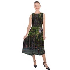 Hawaiian Beach Abstract Midi Tie Back Chiffon Dress by bloomingvinedesign