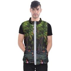 Hawaiian Beach Abstract Men s Puffer Vest by bloomingvinedesign