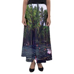 Hawaiian Beach Abstract Flared Maxi Skirt by bloomingvinedesign
